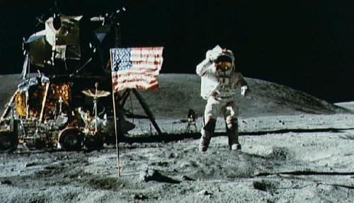 Neil Armstrong on the moon. Uploaded by theunexplainedmysteries.com.