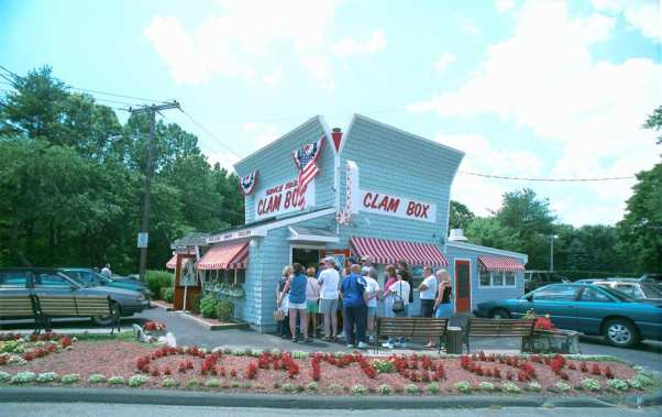 "Yes, that is ""CLAM BOX"" spelled in flowers out front. Photo courtesy of Roadfood.com."