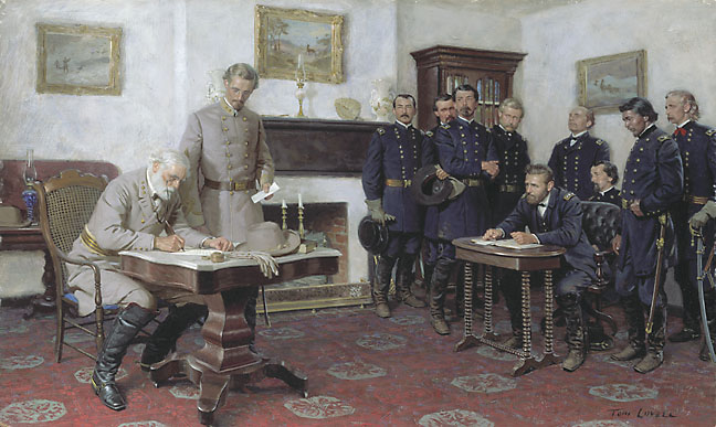 Robert E. Lee surrenders the Army of Northern Virginia to Ulysses Grant. Uploaded by galleryone.com.