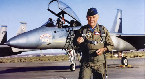Chuck Yeager, fighter ace and first man to break the sound barrier. Uploaded by b-29s-over-korea.com.