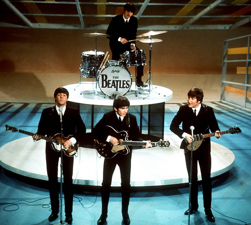 The Beatles on the Ed Sullivan Show. Uploaded to Flickr by sebastian matus.