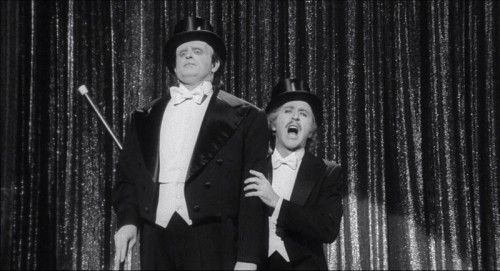 "Peter Boyle as the monster and Gene Wilder as Dr. Frankenstein perform ""Putting on the Ritz."" Uploaded by grouchoreviews.com."