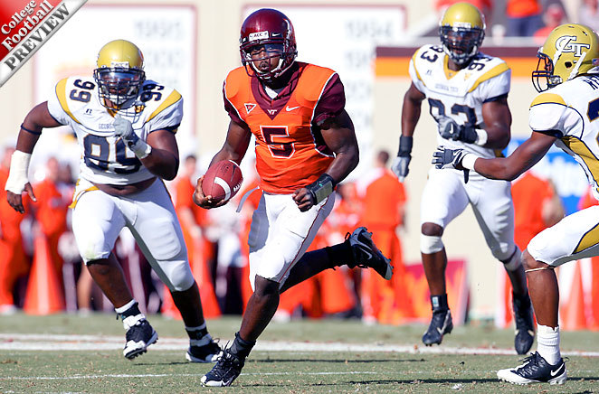 Tyrod Taylor of Virginia Tech eludes Georgia Tech defenders. Uploaded by i.cdn.turner.com