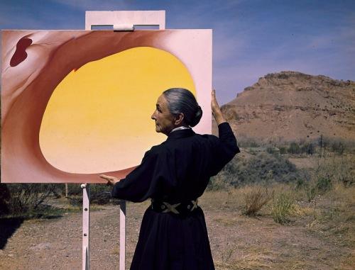 Georgia O'Keeffe in Santa Fe, by photographer Tony Vaccaro for Look Magazine (1960).