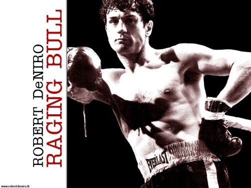 De Niro gained 60 pounds (after this poster, obviously) for his role in Raging Bull. Uploaded by deniro.narod.ru.
