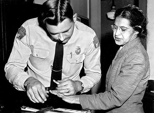 Rosa Parks is fingerprinted after she refused to give up her seat on a Montgomery city bus. Uploaded by mindfully.org.