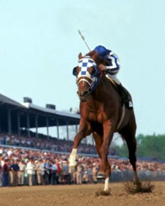 Secretariat, charging to victory. Uploaded by circledhorses.com.