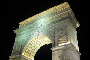 The famous arch in Washington Square Park. Uploaded to Flickr by wallyg.