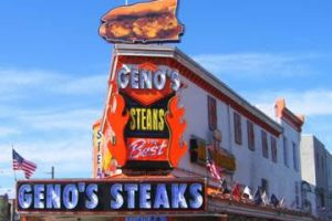 Geno's Steaks, the newer rival. Uploaded by cheesesteaktown.com.
